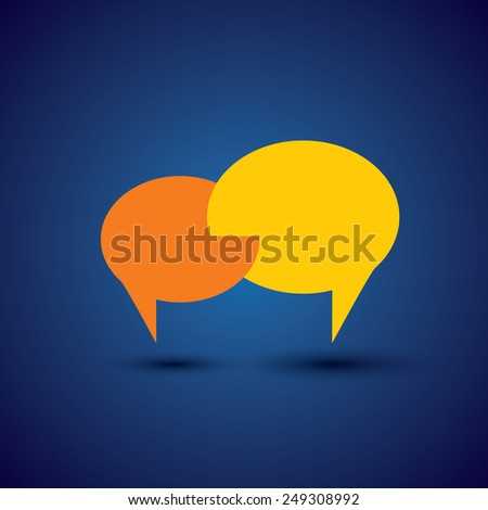 chat or talk symbol or speech bubble - concept vector. This also represents intimate relationship, deep communication, love talk, discussion, open dialogue, close interaction - stock vector
