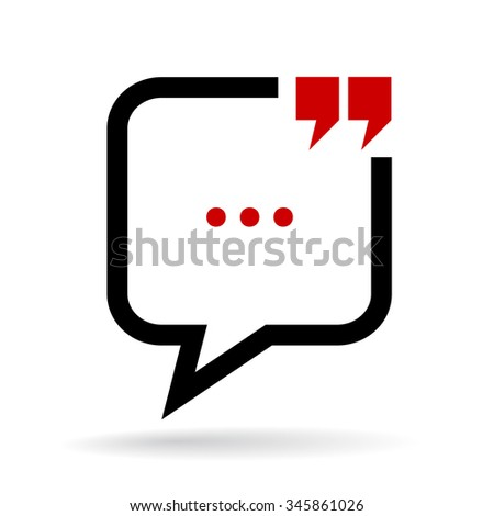Chat quote bubble icon on white background - stock vector