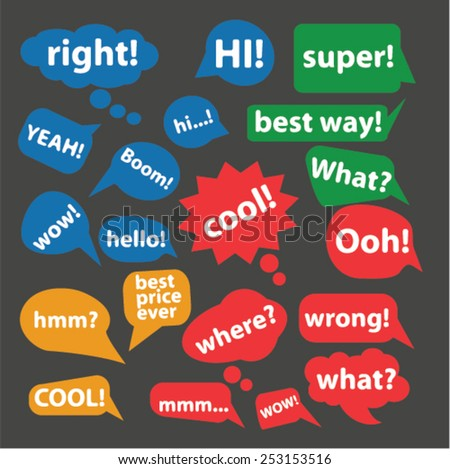 chat, speech, bubbles concept - flat isolated icons, signs, illustrations set, vector - stock vector
