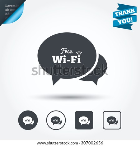 Chat speech bubbles. Free wifi sign. Wifi symbol. Wireless Network icon. Wifi zone. Circle and square buttons. Flat design set. Thank you ribbon. Vector - stock vector