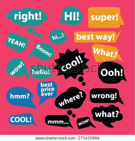 Chat, speech, bubbles icons, and signs. illustrations set, vector - stock vector