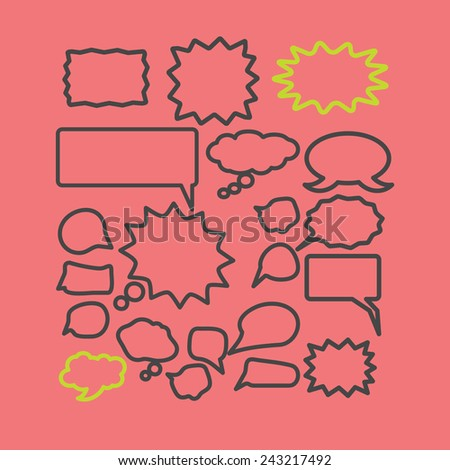 chat, speech icons, signs, silhouettes set, vector - stock vector