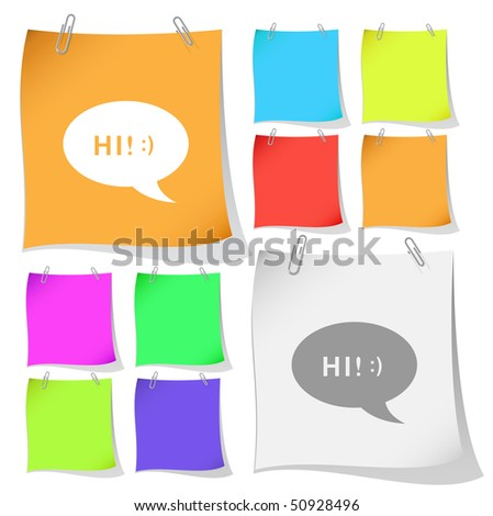 Chat symbol. Vector note papers.