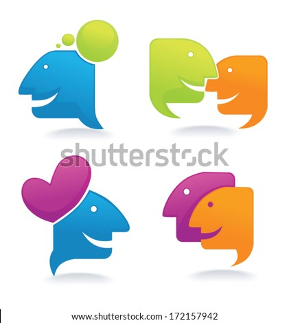 chat, talk and communication , vector set of  icons and symbols for your design - stock vector