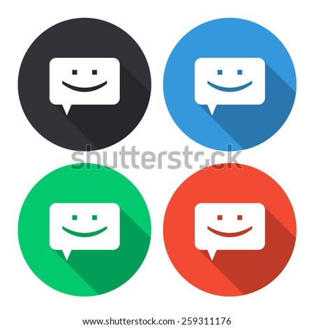 chat vector icon - colored(gray, blue, green, red) round buttons with long shadow - stock vector