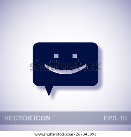 Chat vector icon - dark blue illustration with blue shadow - stock vector