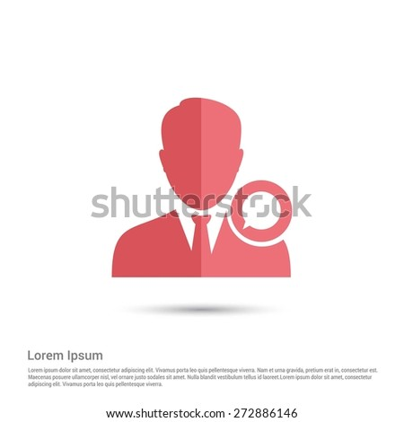 Chat with user icon, pictogram icon on gray background. Simple flat metro design style. half shade cut icon. Flat design style. Vector illustration - stock vector