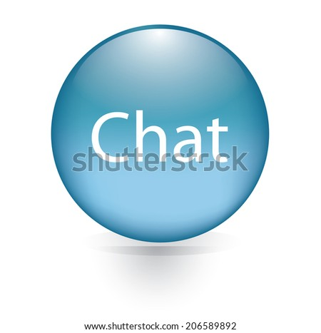 Chat word blue button - stock vector