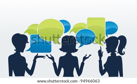 chatting girls, vector set of girls silhouettes with speech bubbles - stock vector