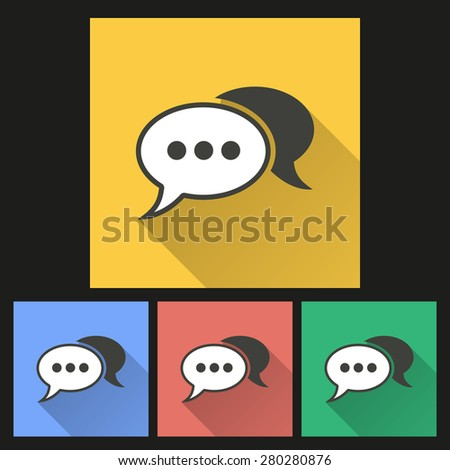 Chatting icon with long shadow, flat design. Vector illustration. - stock vector