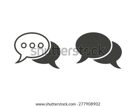 Chatting - vector icons in black on a white background. - stock vector
