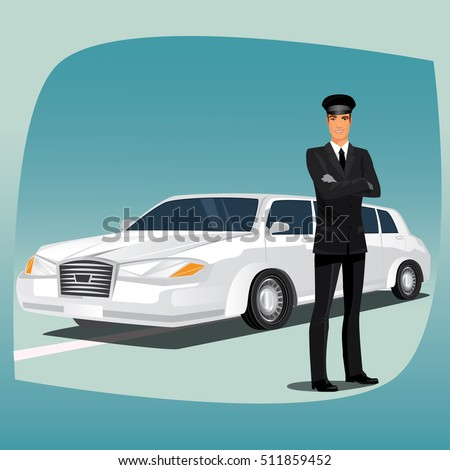 chauffeur driver of luxury car such as limousine or lincoln standing dressed