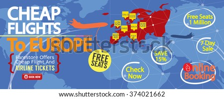 Cheap Flight To Europe 1500x600 Banner Vector Illustration  - stock vector