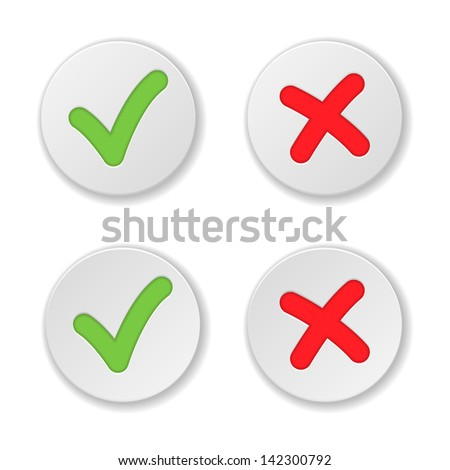 Check And Cross Mark Stickers Set. Vector Illustration - stock vector