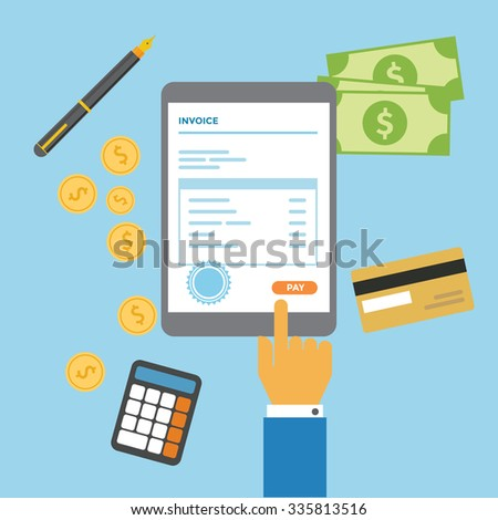 Check and pay your invoice bill mobile via tablet - stock vector
