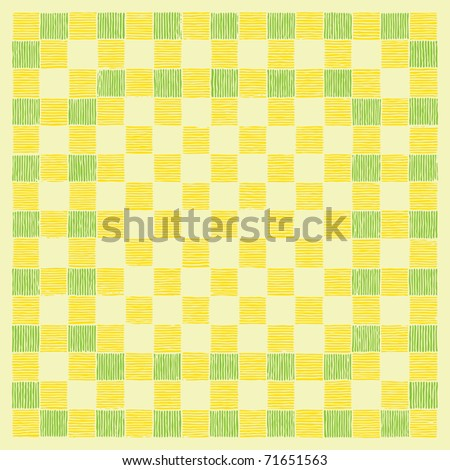 check board yellow and green drawing - stock vector
