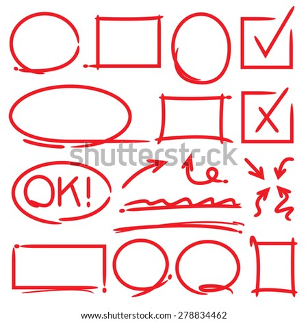 check box, circles, arrows and highlighting elements - stock vector
