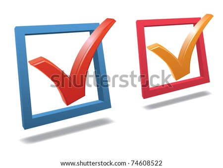 Check box with check mark high detailed 3d vector - stock vector