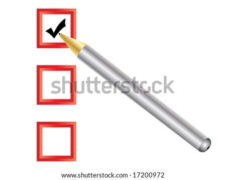 Check box with pen - stock vector