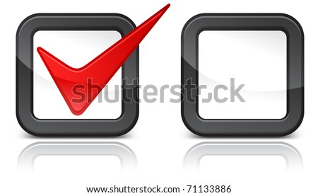 Check-box with red check-mark isolated on white background, vector illustration - stock vector