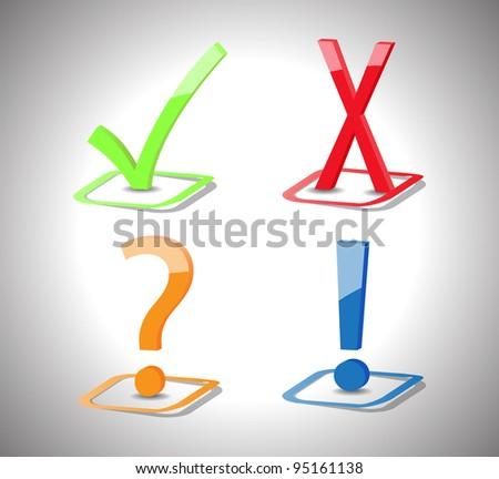 Check boxes, check mark, cross mark, question mark, exclamation mark- vector - stock vector