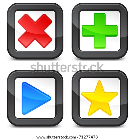 Check-boxes with color check-marks isolated on white background, vector illustration
