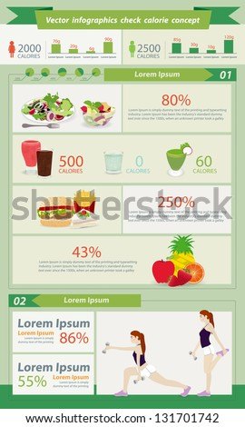 Check Calorie food healthy concept with set elements of infographics, and Information Graphics - stock vector