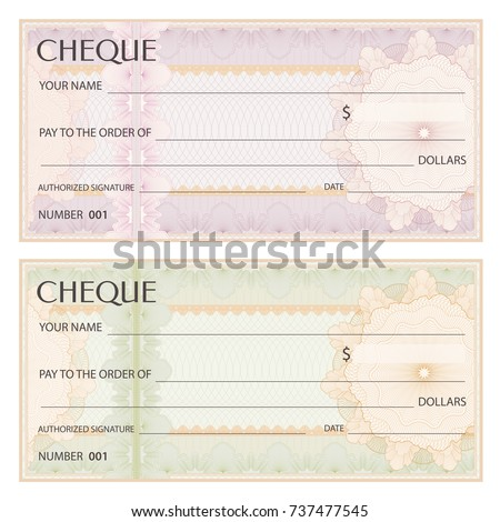 Check cheque chequebook template guilloche pattern stock for Cheque voucher template