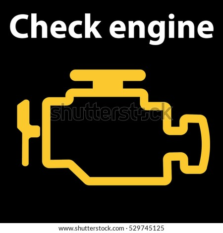 Check Engine Icon. Warning Dashboard Signs. Vector Illustration. Emissions  Warning Light Show On