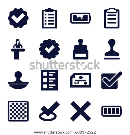 Check icons set. set of 16 check filled icons such as airport desk, stamp, clipboard, checklist, ful battery, broken battery, tick, chess board, check