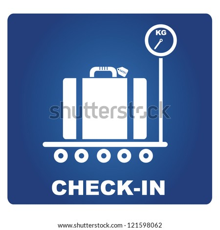check in airport, signage - stock vector