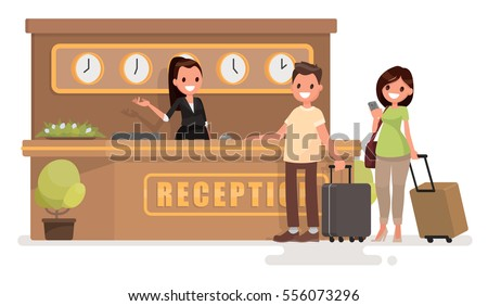 Check into a hotel. Young couple with suitcases is standing at the reception desk. Vector illustration in  flat style