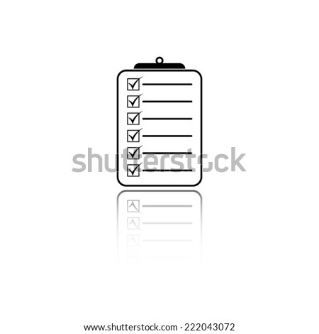 check list icon - black vector illustration with reflection - stock vector