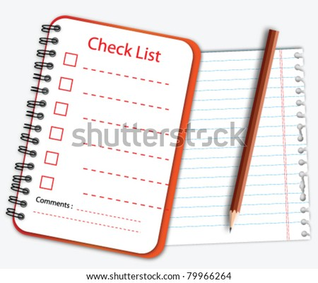 Check list notebook with note paper and pencil