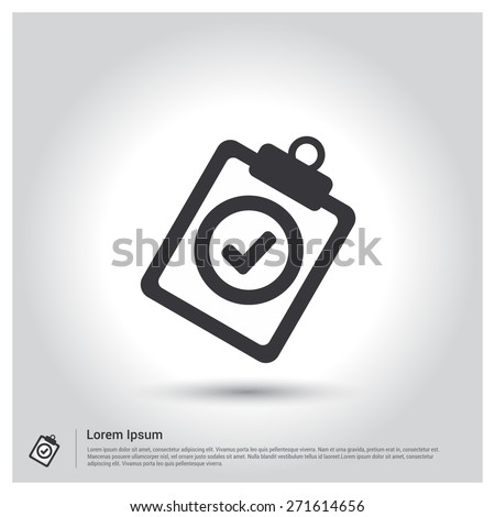 Check list OK icon, quality control questionnaire tasks Icon. pictogram icon on gray background. mobile application. Simple flat metro design style. Flat design style. Vector illustration  - stock vector