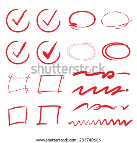 check list, red circle markers, red underline set - stock vector