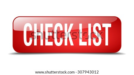 check list red square 3d realistic isolated web button - stock vector