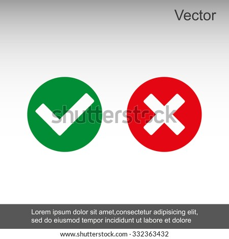 Check mark and Cross Icons - stock vector