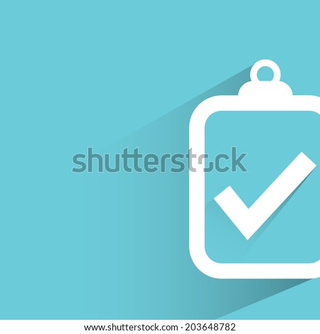 check mark, blue background, flat and shadow theme - stock vector