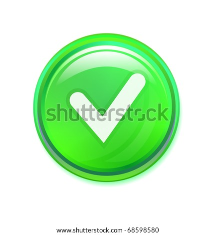 Check mark button on white - stock vector