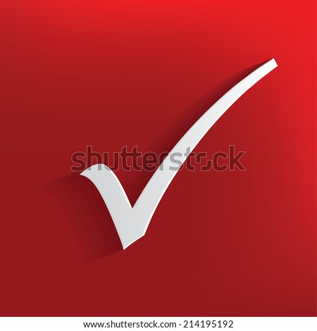 Check mark design on red background,clean vector - stock vector