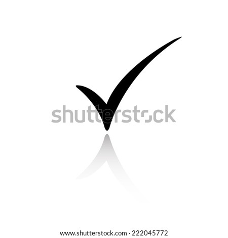 check mark icon - black vector illustration with reflection - stock vector