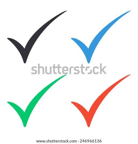 check mark icon - colored vector illustration - stock vector