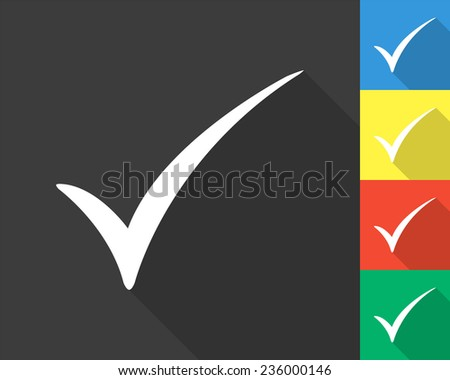 check mark icon - gray and colored (blue, yellow, red, green) vector illustration with long shadow - stock vector