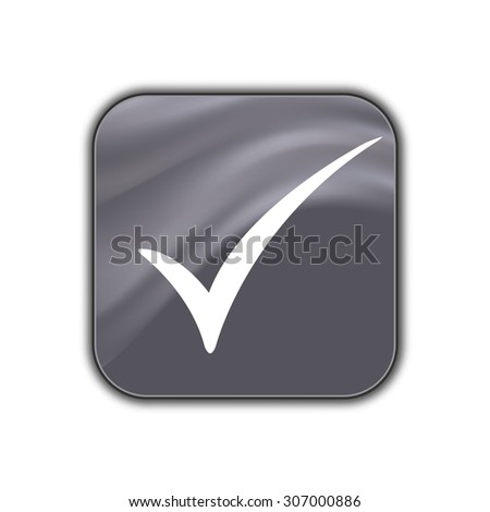 Check mark icon - vector button - stock vector