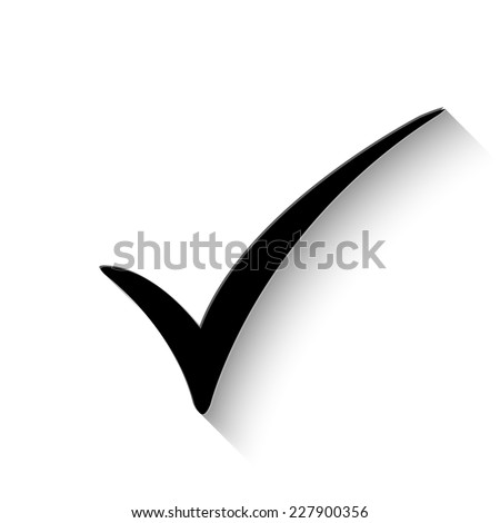 check mark icon - vector illustration with shadow - stock vector