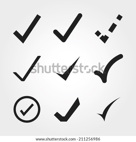 Check mark icons - stock vector
