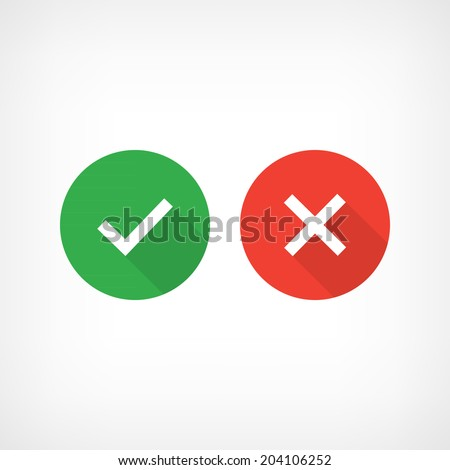 Check Mark Icons on Bright Buttons - stock vector