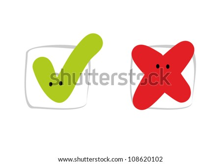 Check mark in a joyful cartoon style. Vector illustration - stock vector