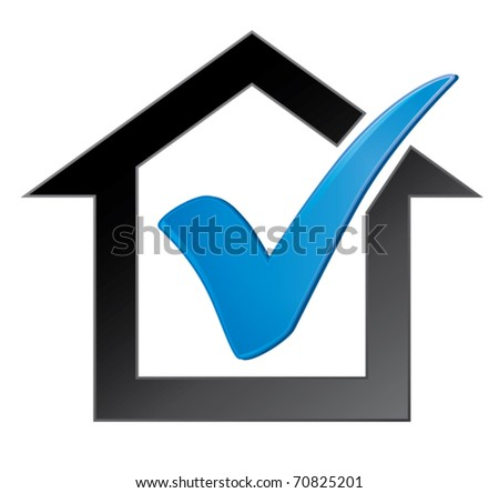 Check mark in house - stock vector